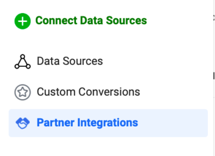 """Image reads: """"Connect Data Sources: Data Sources; Custom Conversions; Partner Integrations"""""""