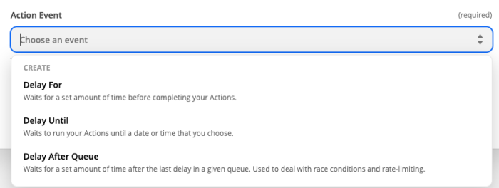The available action events for Delay by Zapier.
