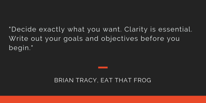 Eat That Frog principle 1: Decide exactly what you want. Clarity is essential. Write out your goals and objectives before you begin.
