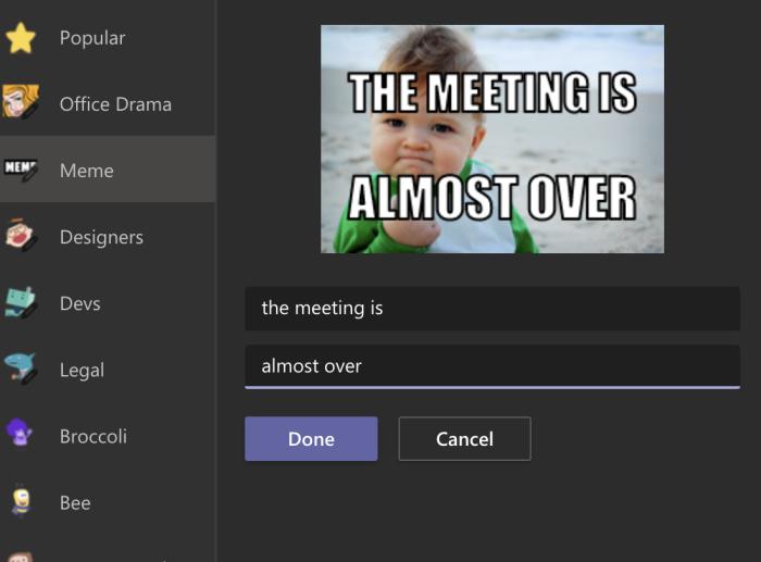 Meme generator in Microsoft Teams