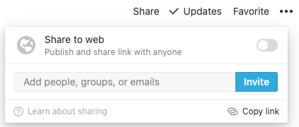 A pop-up of sharing options in Notion. There's a prompt to add people, groups, or emails, along with a blue invite button.