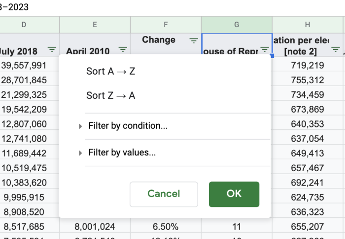Filter dialogue in Google Sheets