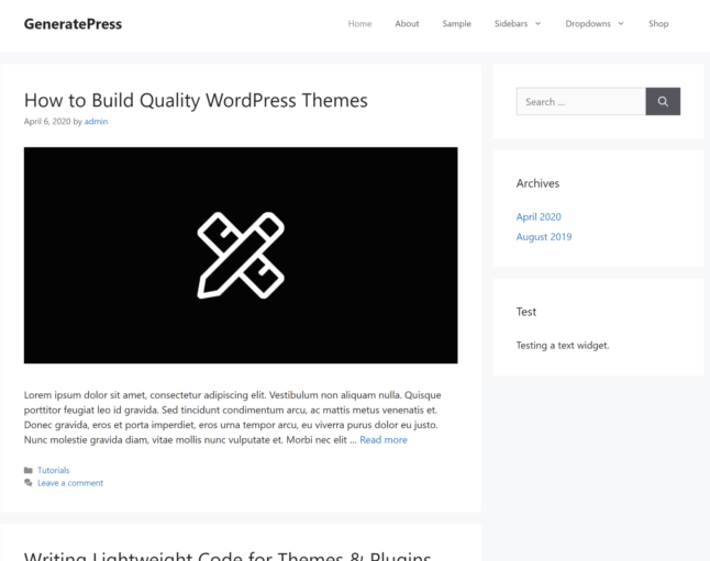 The GeneratePress theme out of the box