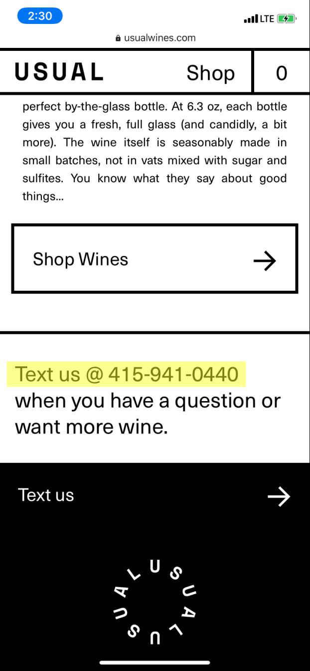 A screenshot of Usual Wines