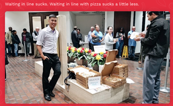 Pizzas at a polling place