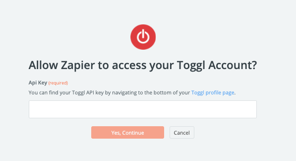 """""""Allow Zapier to access your Toggl account?"""""""