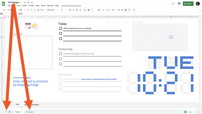 Arrows pointing to the worksheets tabs in Google Sheets