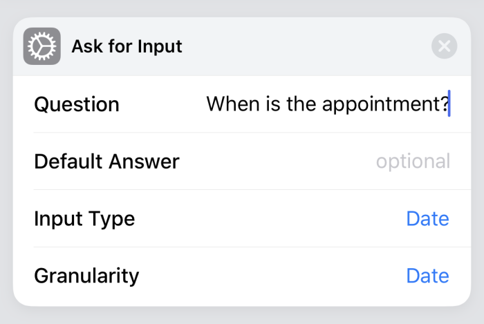 Siri Shortcuts Ask for Input