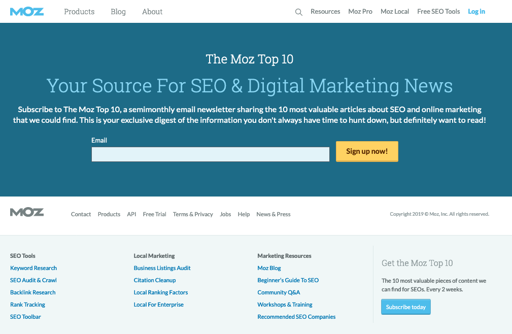 Moz Top 10 email sign-up landing page