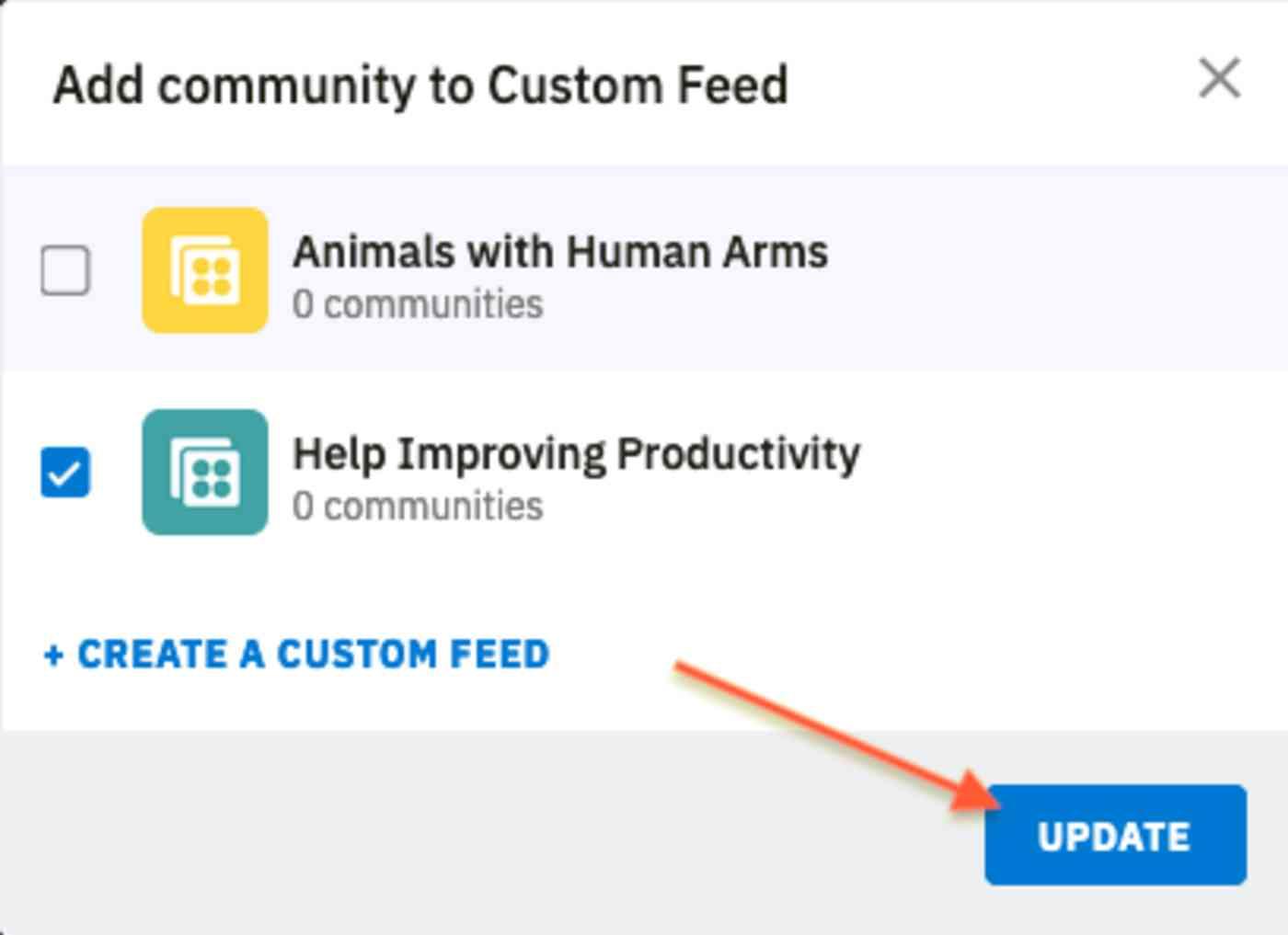 Updating custom feeds