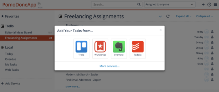 A screenshot of the PomoDoneApp showing task management icons that you can add to your system.