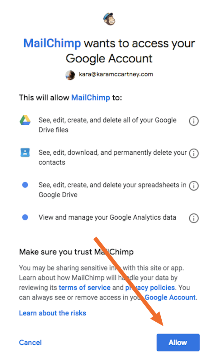Click Allow to connect to Google Analytics