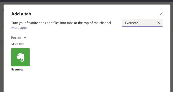 Agregar Evernote a Microsoft Teams