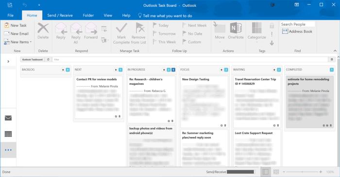 Taskboard for Outlook screenshot