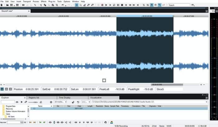 SOUND FORGE Audio Studio 12 interface