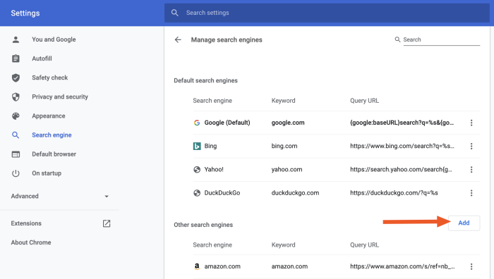 Add a search engine in Chrome