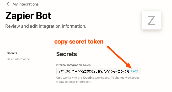 A red arrow highlights the Copy link, instructing the user to copy the secret token.