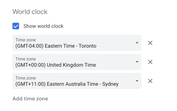 World Clock settings in Google Calendar