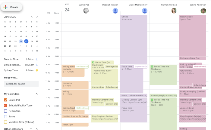 Five calendars alongside each other