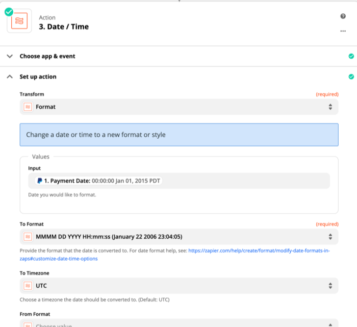 Zapier Formatter can convert PayPal text to the format you want before adding it to another app