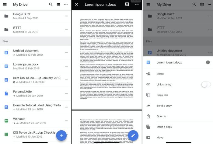Google Drive on iOS