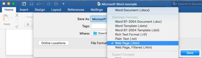 Microsoft Word guarda como HTML