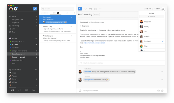 Front email app