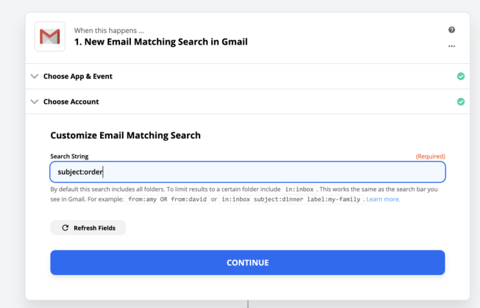 Searching Gmail in Zapier