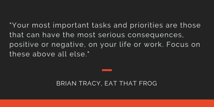 Eat That Frog principle 4: Your most important tasks and priorities are those that can have the most serious consequences, positive or negative, on your life or work. Focus on these above all else.