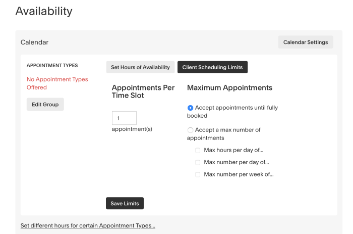 Setting up regular hours in Acuity