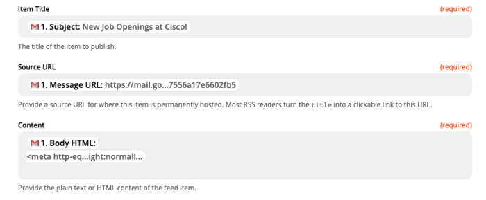 A screenshot of the Feed Title, Source URL, and Content fields in the Zap editor.