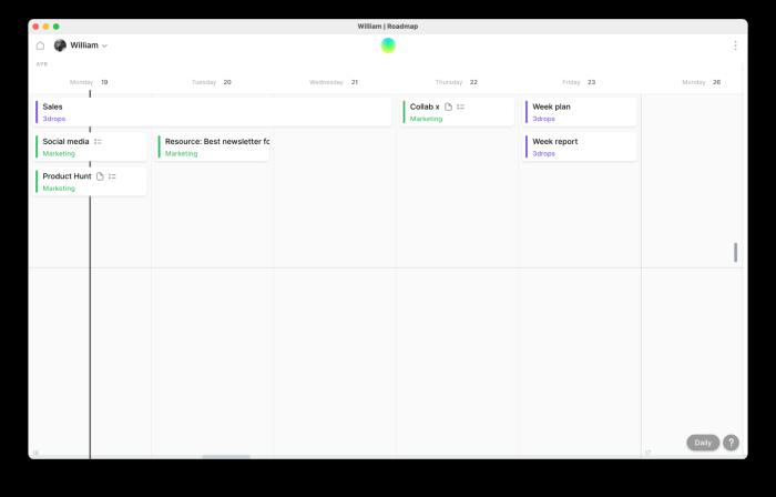 A screenshot of William's week in the Roadmap app