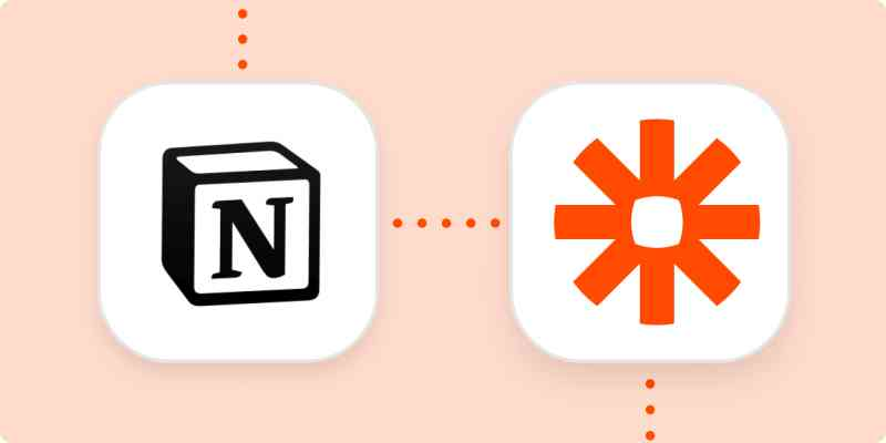 The logos for Notion and Zapier connected by a dotted orange line.