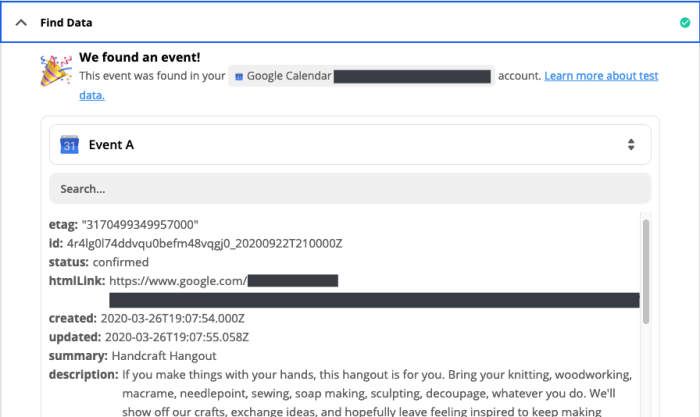 A screenshot of test Google Calendar data in the Zap Editor.