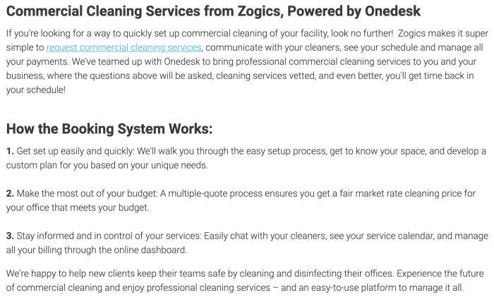 A screenshot from Zogics selling their cleaning service