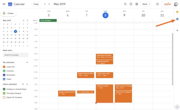 Google Tasks button in Google Calendar