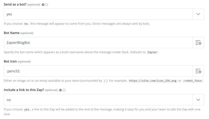 Customizing your Slack bot in Zapier