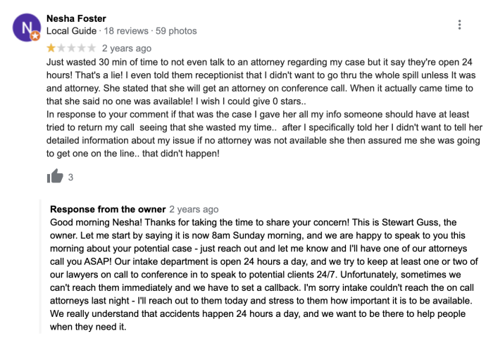 The response to a negative review, where the business owner admits fault and says what they'll do to be better