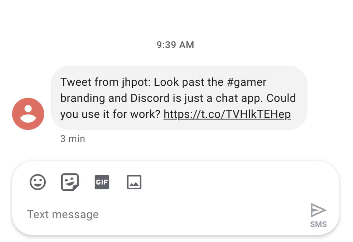 A Twitter SMS notification sent by Zapier