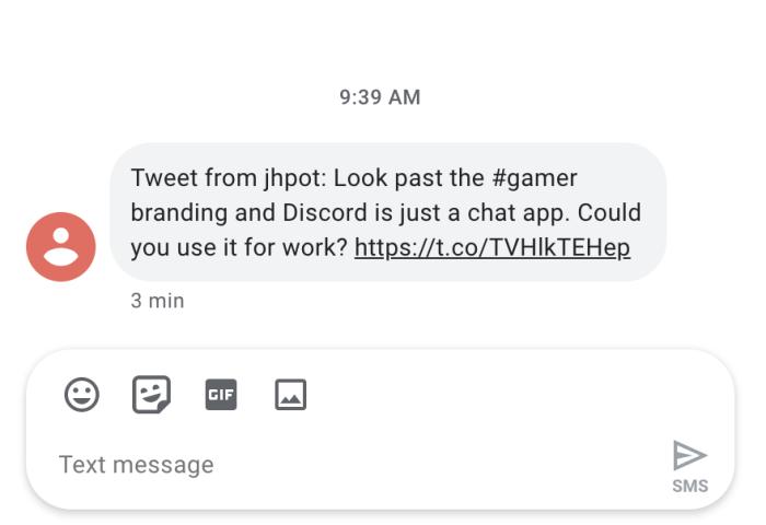 Una notificación SMS de Twitter enviada por Zapier