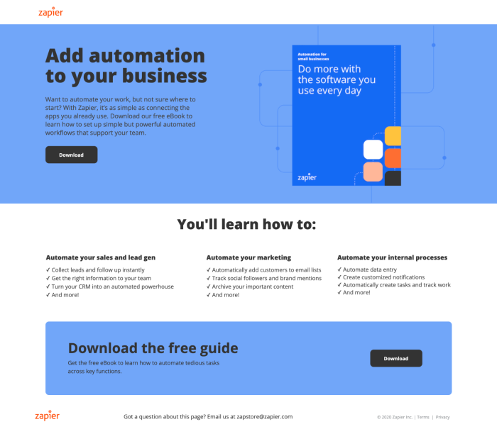 A screenshot of Zapier's gated eBook landing page with a simple CTA