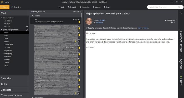 eM Client interface