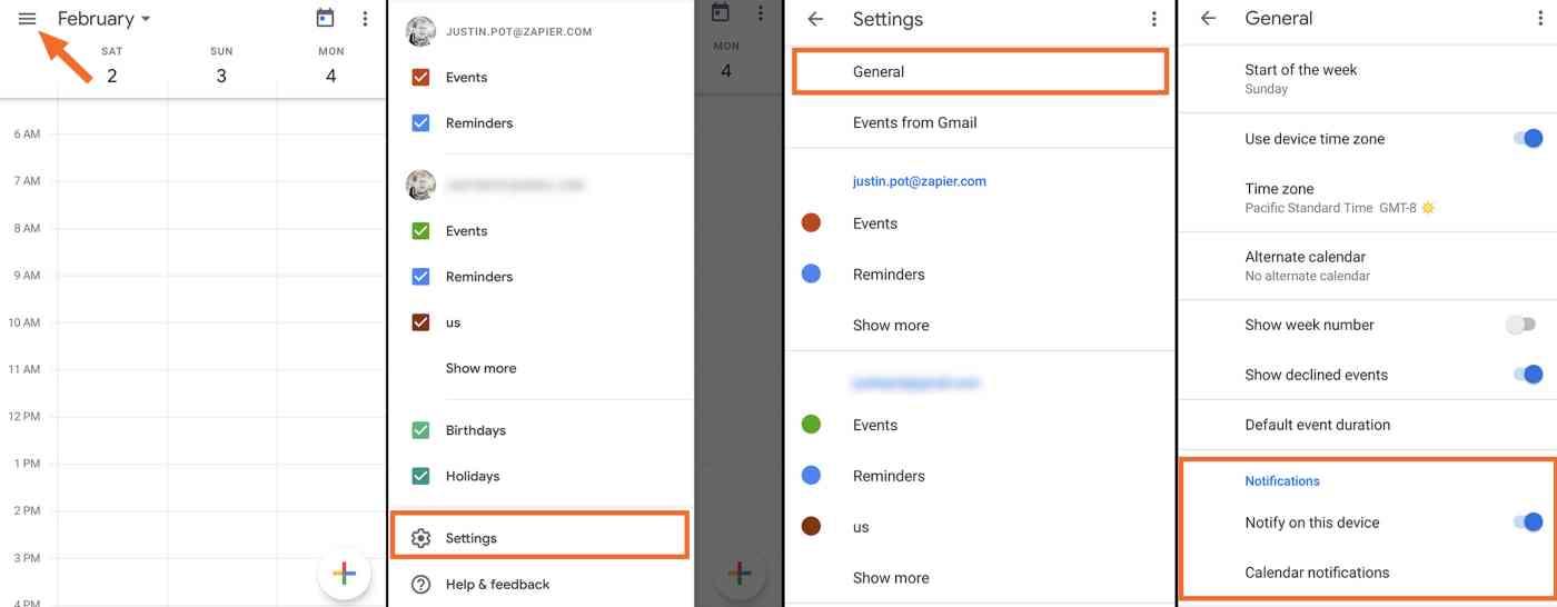 Google Calendar notifications mobile