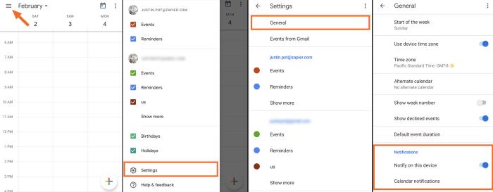 Notificaciones de Google Calendar para dispositivos móviles