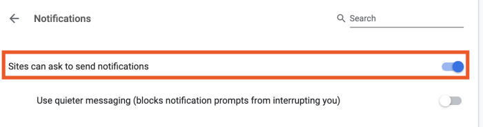 bloquear las notificaciones del sitio web en Chrome