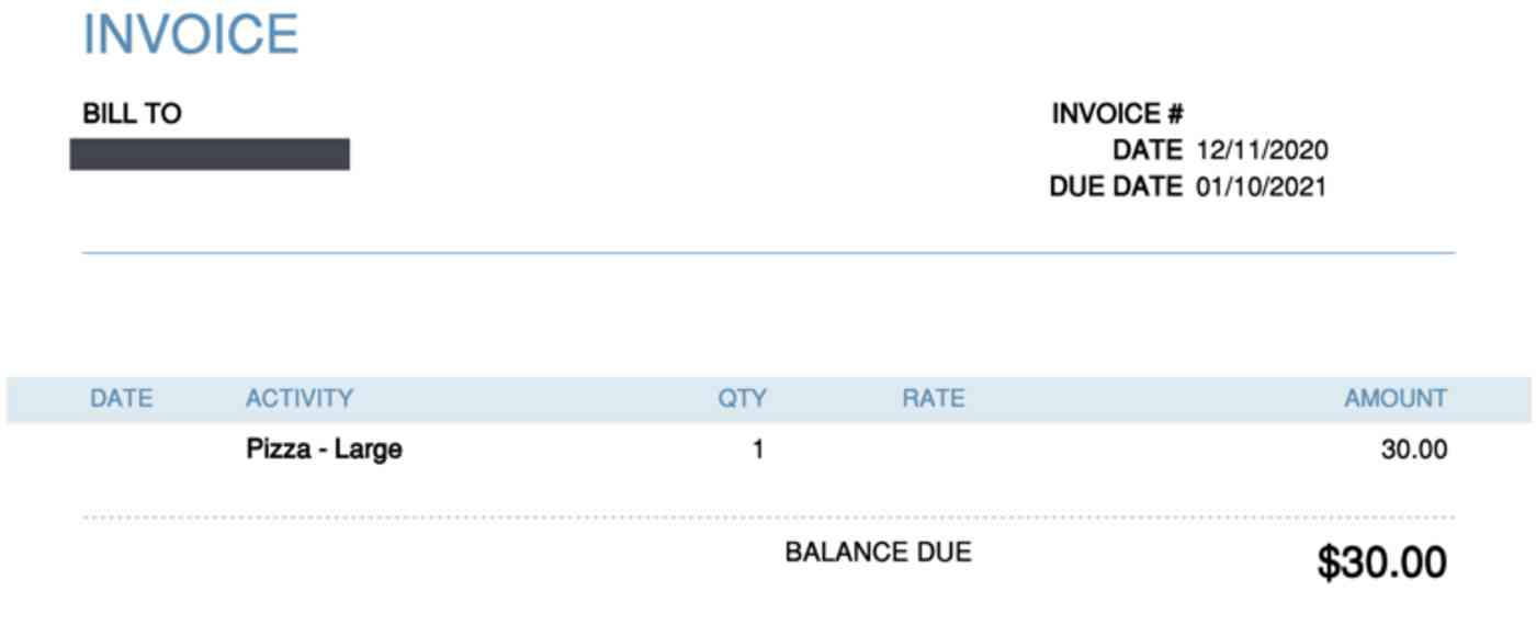 Invoice output for Pizza-Large with $30.00 balance due
