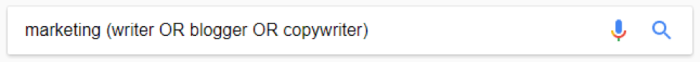 Google search for marketing (writer OR blogger OR copywriter)