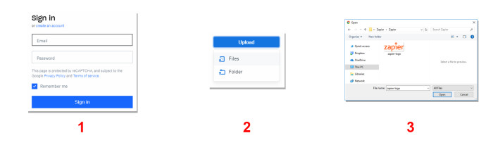 Steps for using the Dropbox web app