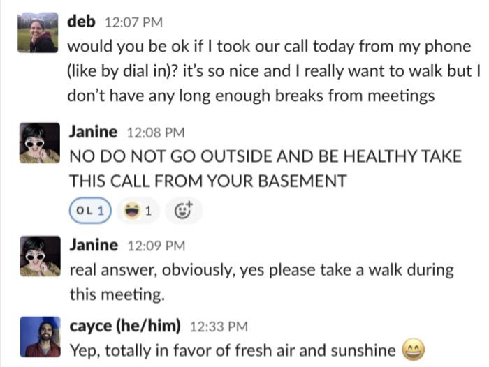 Pregunté si la gente estaría de acuerdo si respondía a la llamada vía dial-in y después de una broma rápida dijeron que por supuesto