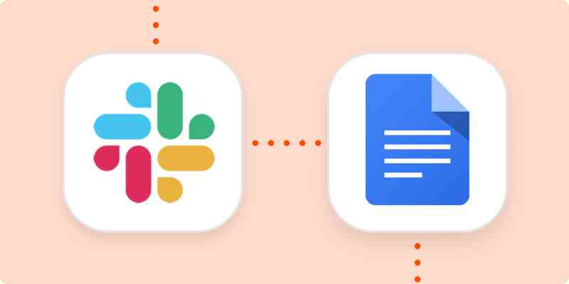 The logos for Slack and Google Docs in white squares on an orange background. The squares are connected with dotted orange lines.